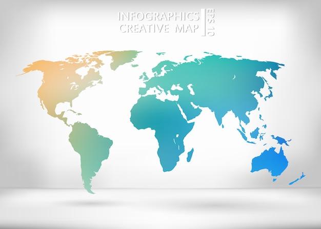 Carte vectorielle créative du monde. Vecteur Premium
