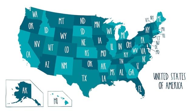 Carte Vectorielle Dessinés à La Main Des états-unis D'amérique. Vecteur Premium