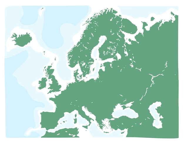 Carte Vectorielle Dessinés à La Main De L'europe En Couleur Verte Vecteur Premium