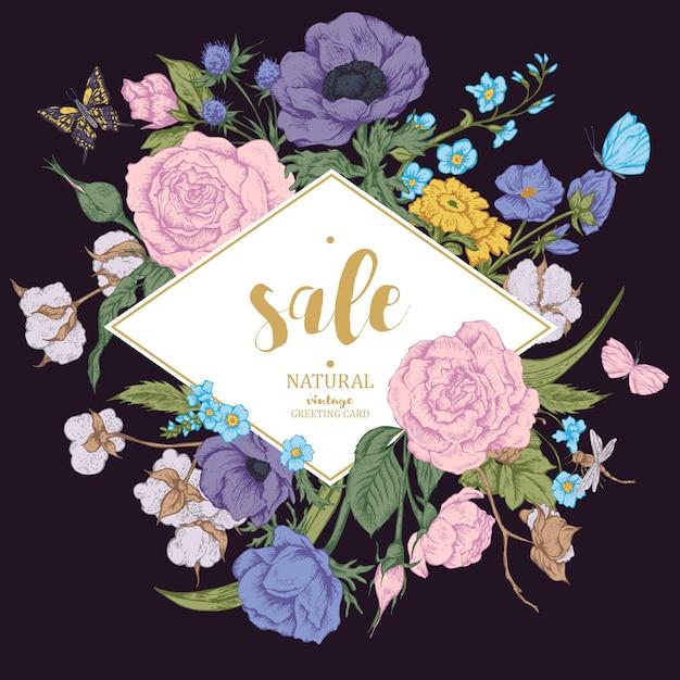 Carte De Vente Vintage Vector Floral Avec Roses, Anémones Et Beurre Vecteur Premium