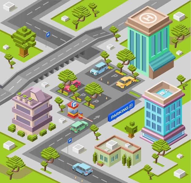Carte de la ville pour le stationnement ou la carte avec des immeubles de bureaux et résidentiels Vecteur Premium
