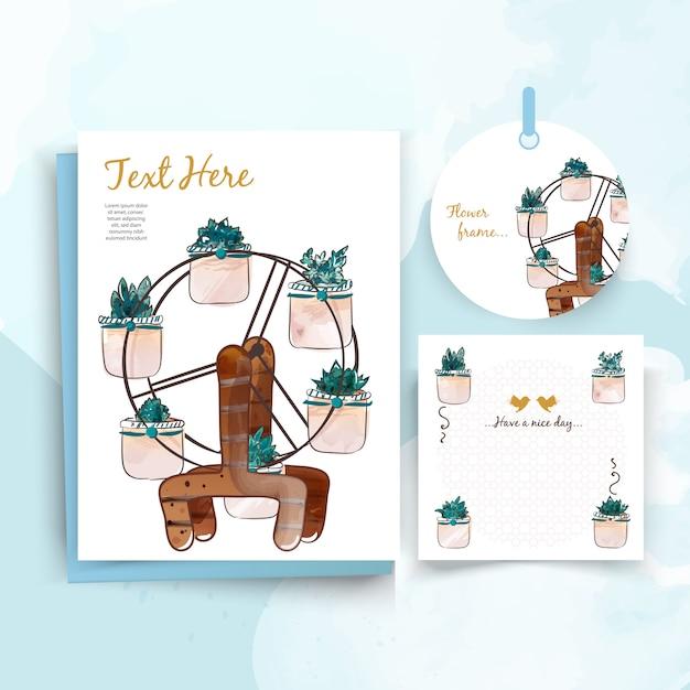 Carte vintage animal mignon floral dans un style aquarelle. Vecteur Premium