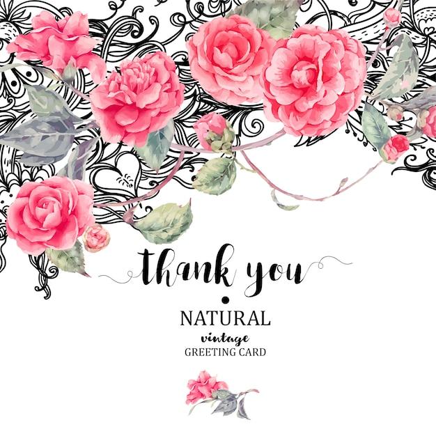 Carte vintage de fleurs de camélia et de dentelle naturelle Vecteur Premium