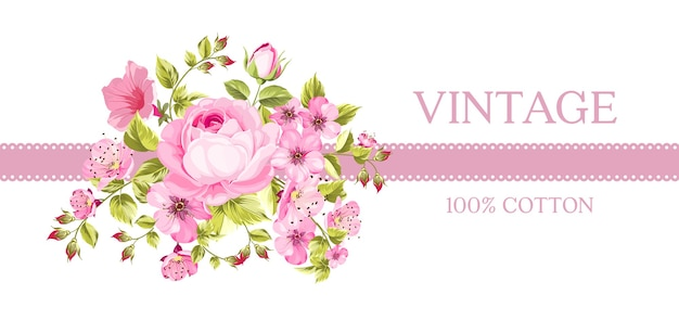 Carte Vintage Avec Des Fleurs épanouies. Vecteur gratuit