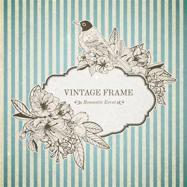 Carte vintage romantique Vecteur gratuit