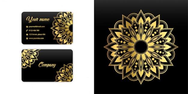 Carte De Visite Abstraite De Mandala. Fond D'arabesque De Luxe. Motif Floral Serti De Couleur Or Vecteur Premium