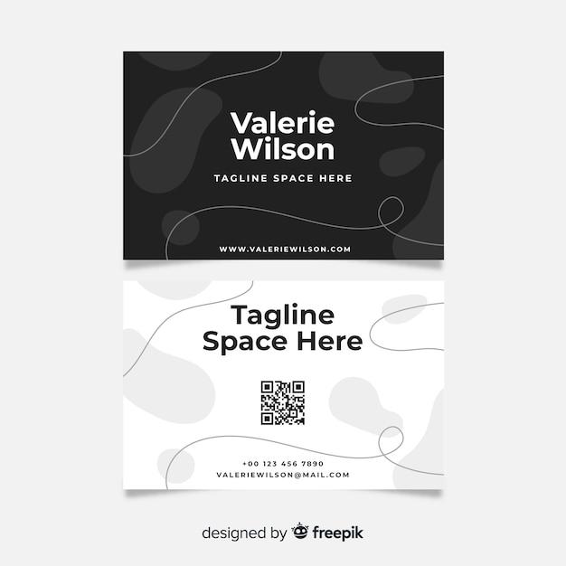 Carte de visite abstraite en noir et blanc Vecteur gratuit