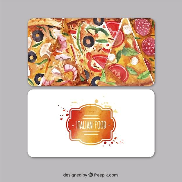Carte De Visite Daquarelle Pour Le Restaurant Italien