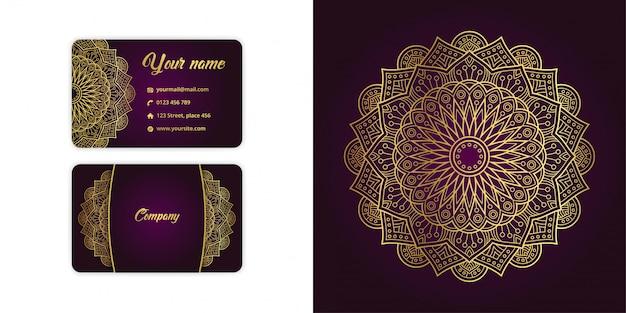 Carte De Visite Arabesque Mandala Or De Luxe Et Fond D'arabesque Sur Une élégante Couleur Magenta Vecteur Premium