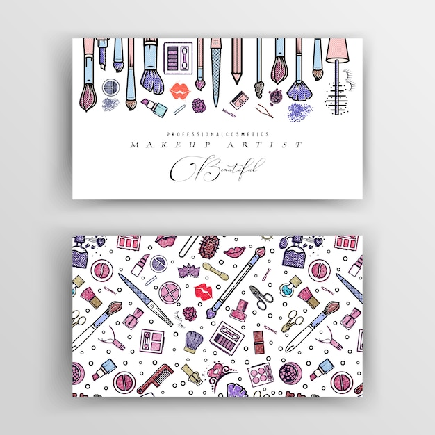 Carte De Visite D'artiste Maquillage. Modèle De Vecteur Pour Votre Conception. Vecteur Premium