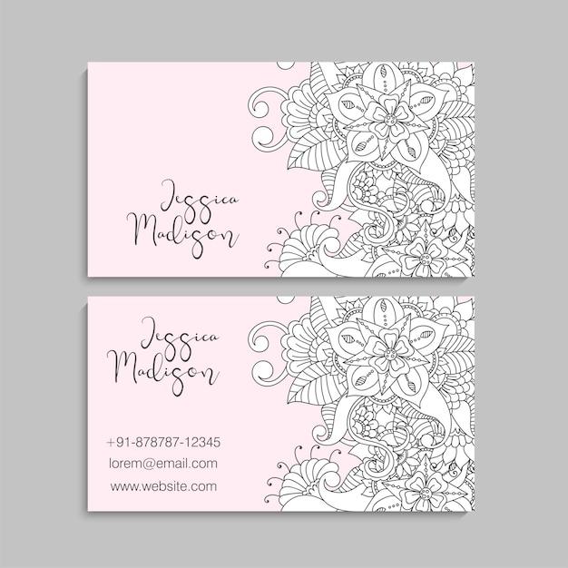 Carte De Visite Avec Belles Fleurs Modele