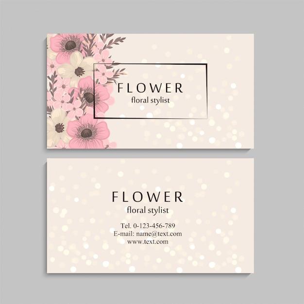 Carte de visite avec de belles fleurs. modèle Vecteur Premium