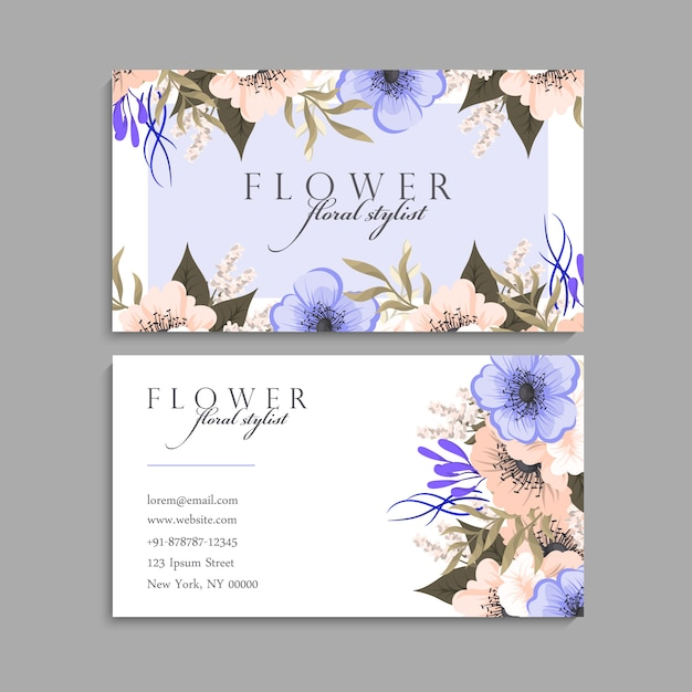 Carte de visite avec de belles fleurs. modèle Vecteur gratuit