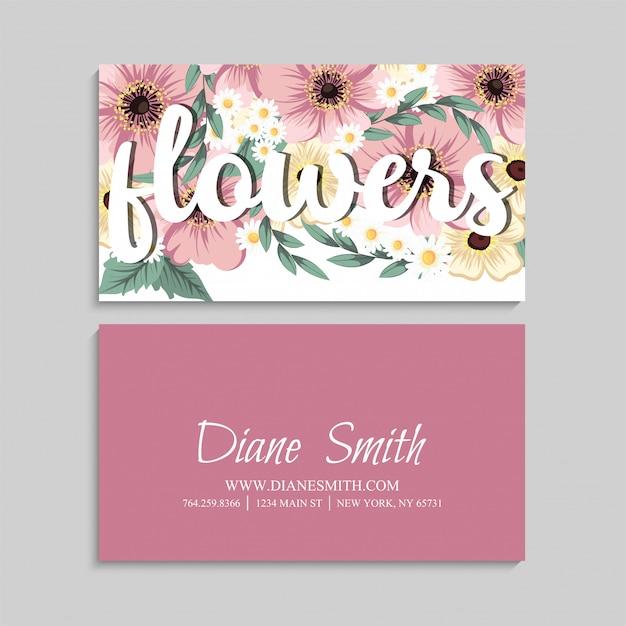 Carte de visite avec de belles fleurs roses Vecteur gratuit