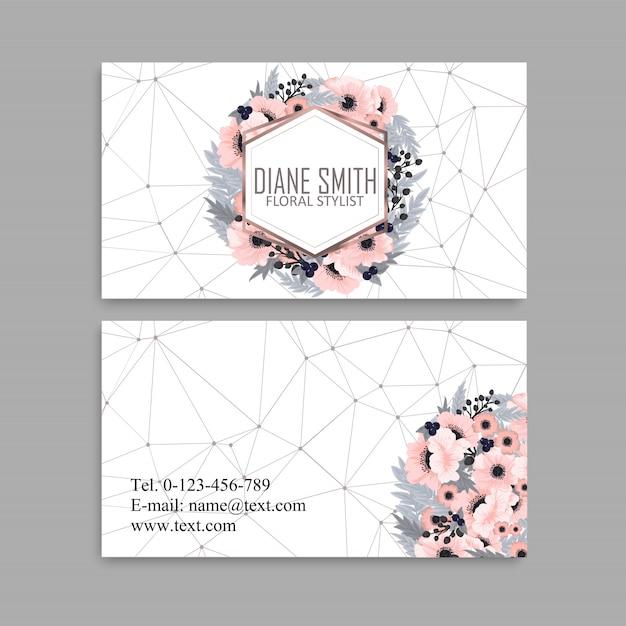 Carte de visite avec de belles fleurs roses Vecteur Premium