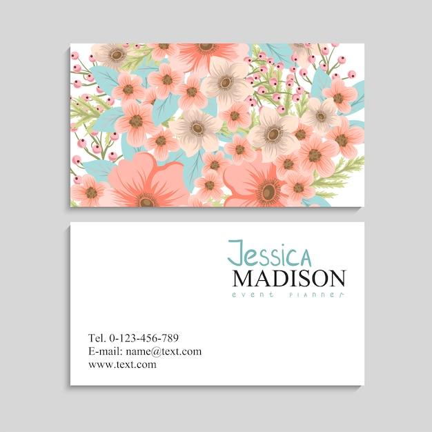 Carte De Visite Avec De Belles Fleurs. T Vecteur gratuit