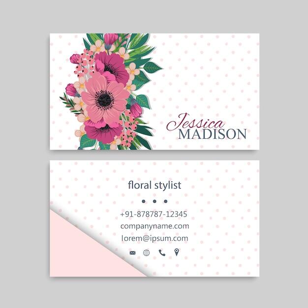 Carte de visite avec de belles fleurs Vecteur Premium