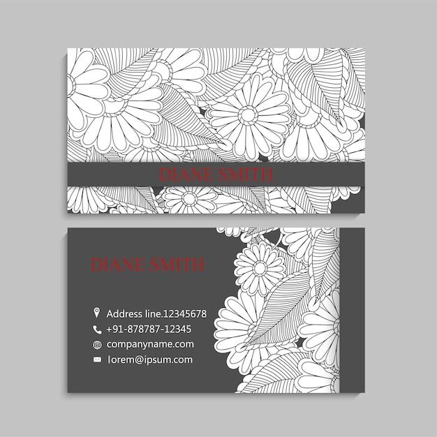 Carte de visite avec de belles fleurs Vecteur gratuit