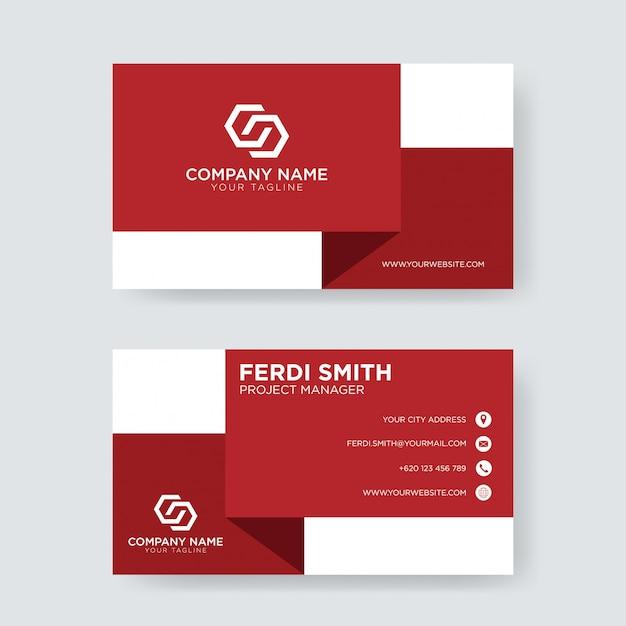 Carte de visite blanche et rouge Vecteur Premium