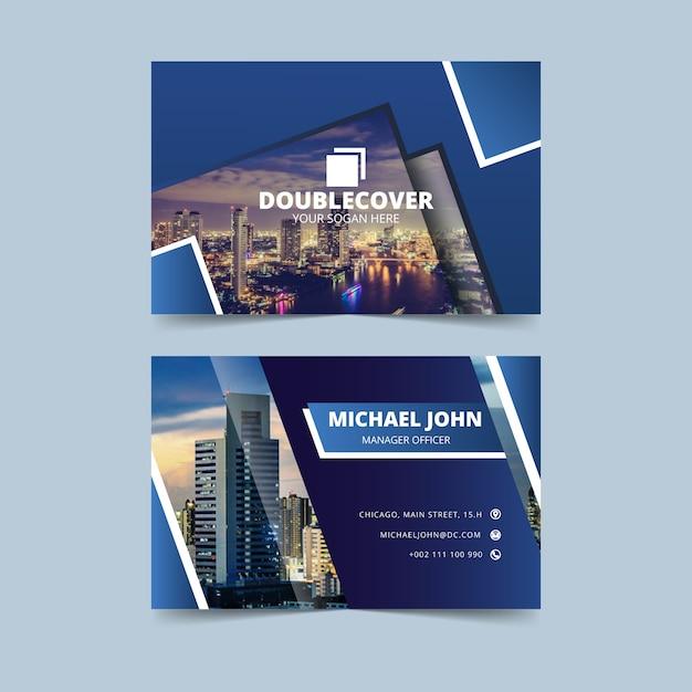 Carte De Visite Bleue Avec Photo Vecteur gratuit