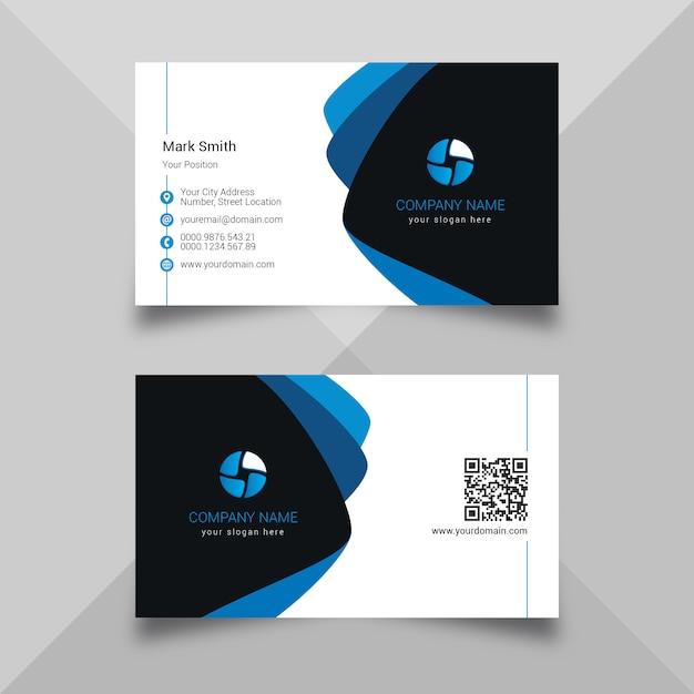 Carte de visite bleue Vecteur Premium
