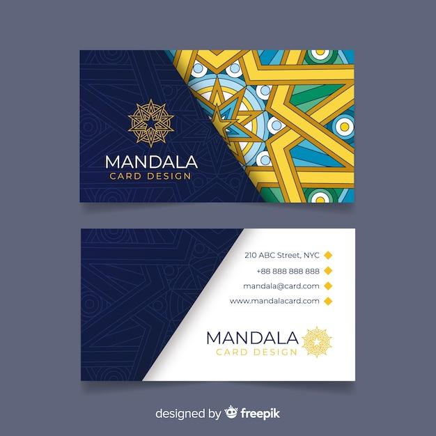 Carte de visite créative avec concept de mandala Vecteur gratuit