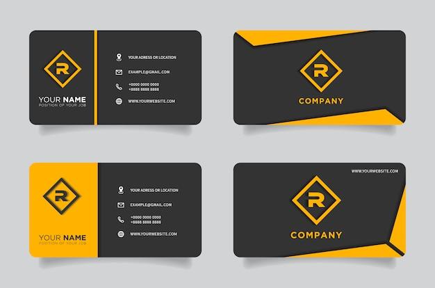 Carte de visite créative moderne orange et noire et nom Vecteur Premium