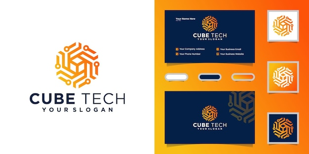 Carte De Visite Cube Tech Logo, Hexagone Et Inspiration Vecteur Premium