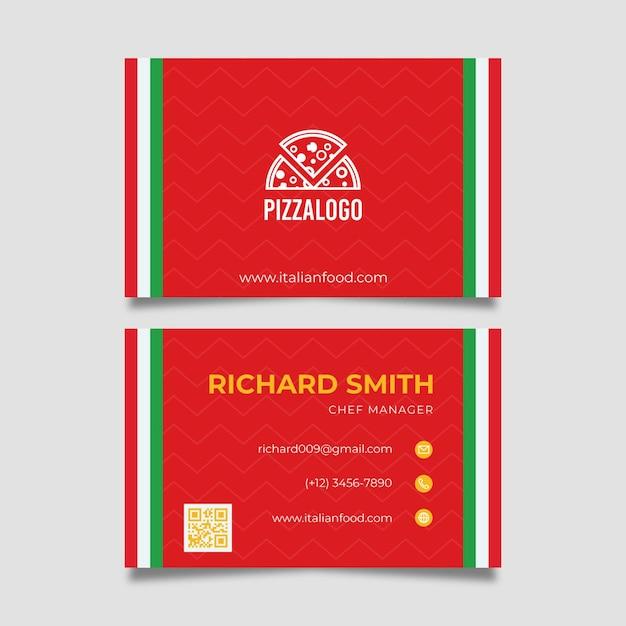 Carte De Visite De Cuisine Italienne Vecteur gratuit