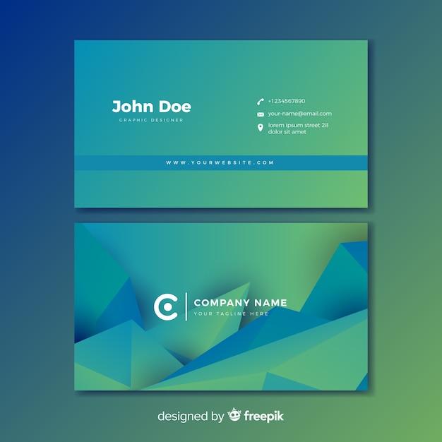 Carte de visite dégradé abstrait bleu et vert Vecteur gratuit