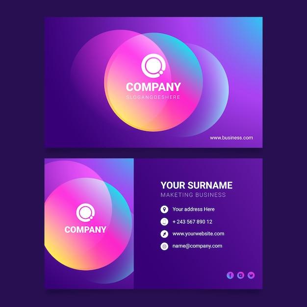 Carte De Visite Dégradé Coloré Vecteur gratuit