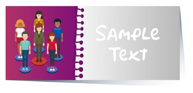Carte De Visite Avec Un Design Infographique Personnes En Arriere
