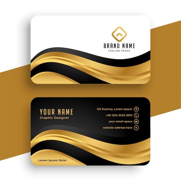 Carte De Visite Dorée Premium Avec Forme Ondulée Vecteur gratuit