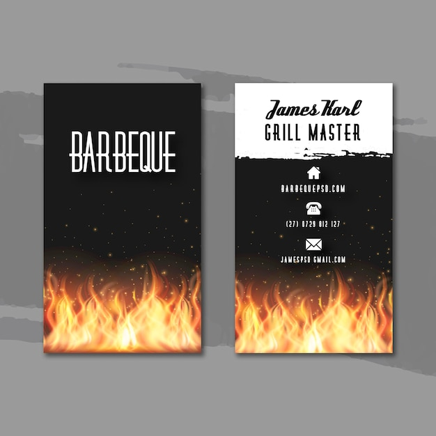 Carte De Visite Double Face Barbecue Vecteur gratuit