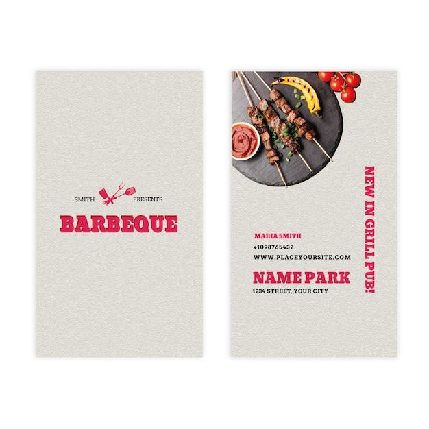 Carte De Visite Double Face Verticale Barbecue Vecteur Premium