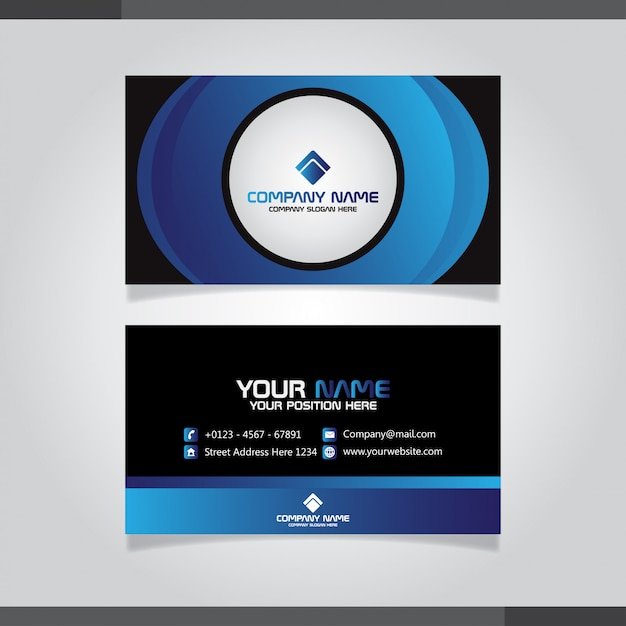 Carte de visite élégante aux couleurs bleues Vecteur Premium