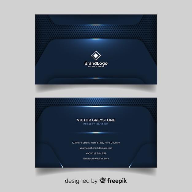 Carte de visite élégante bleu foncé avec logo Vecteur gratuit