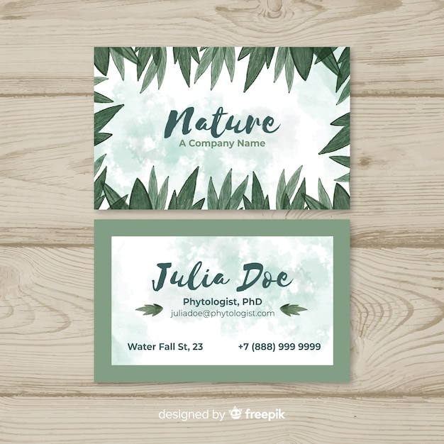 Carte De Visite Lgante Avec Design Nature