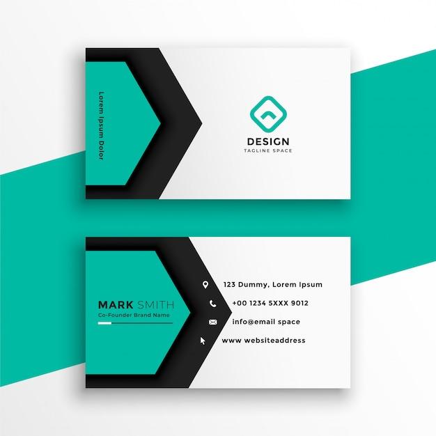 Carte De Visite élégante De Forme Hexagonale De Couleur Turquoise Vecteur gratuit