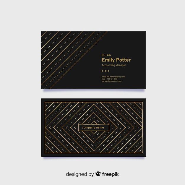 Carte de visite élégante noire avec éléments dorés Vecteur gratuit