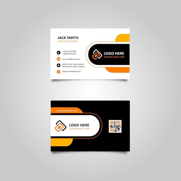 Carte de visite élégante noire et orange Vecteur Premium