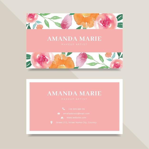Carte De Visite Feminine Mignonne Avec Fleur Aquarelle Design