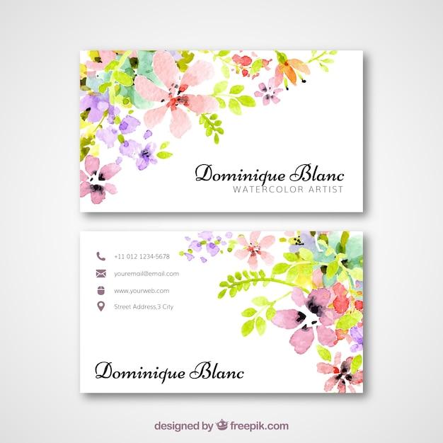 Carte De Visite Avec Des Fleurs Daquarelle