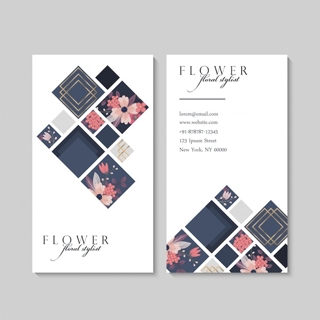 Carte de visite avec des fleurs roses et des éléments géométriques Vecteur gratuit
