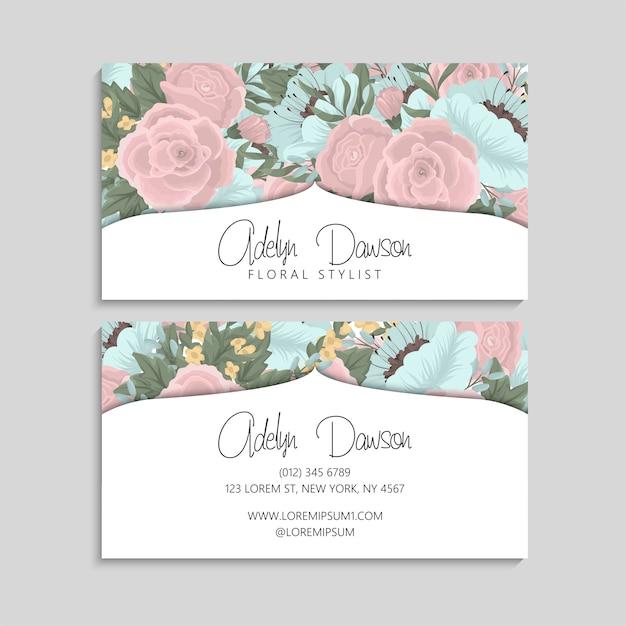 Carte de visite avec des fleurs roses et menthe Vecteur gratuit