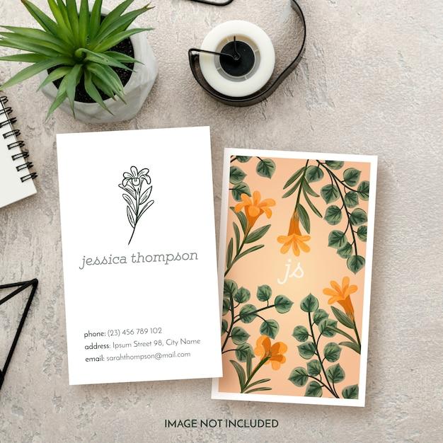 Carte de visite floral business floral Vecteur gratuit