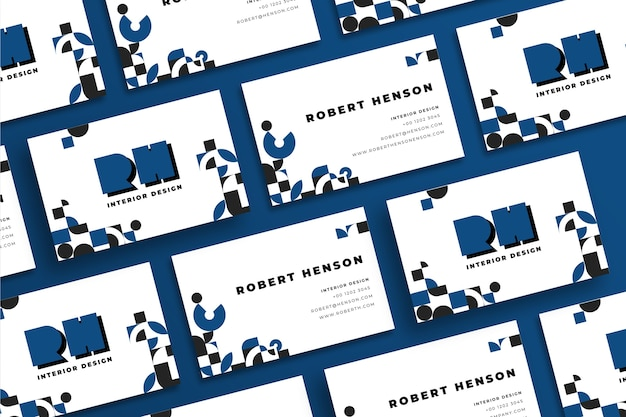 Carte de visite géométrique sur couleur bleu classique Vecteur gratuit