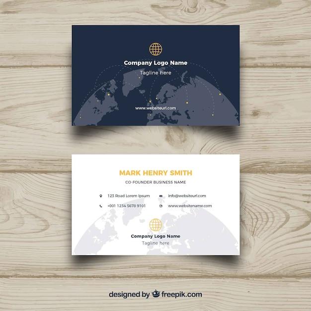 Carte De Visite Avec Globe Mondial
