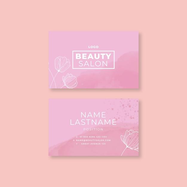 Carte De Visite Horizontale Double Face Pour Salon De Beauté Tempalte Vecteur Premium