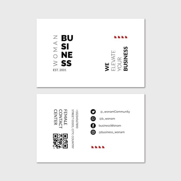 Carte De Visite Horizontale De Femme D'affaires Vecteur Premium